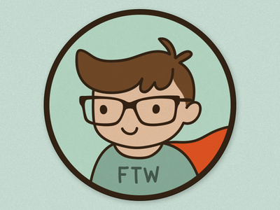 Geek boy geek icon badge character vector illustration