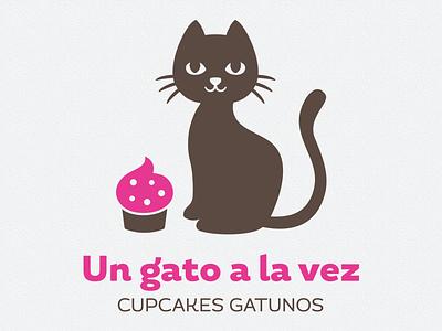 Cat and cupcake logo cat cupcake logo vector gato pink brown kitten kitty