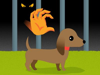 Unattended puppy vector illustration hand evil dachshund dog