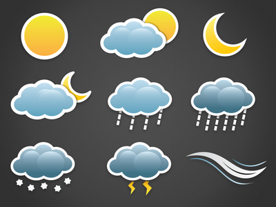 Sticker weather icons weather icons sun clouds rain sticker wind vector
