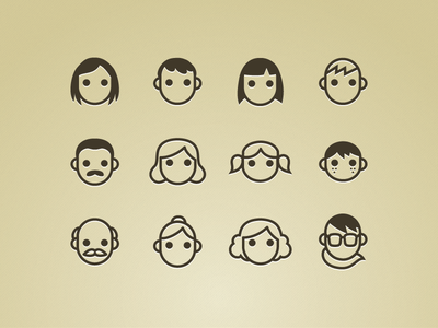 Persona Icons persons people icons vector woman man children child