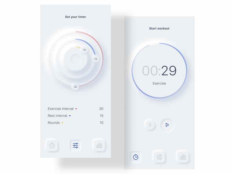 Tabata timer app ux ui mobile neumorphic tabata timer app ui design modern ui neumorphism