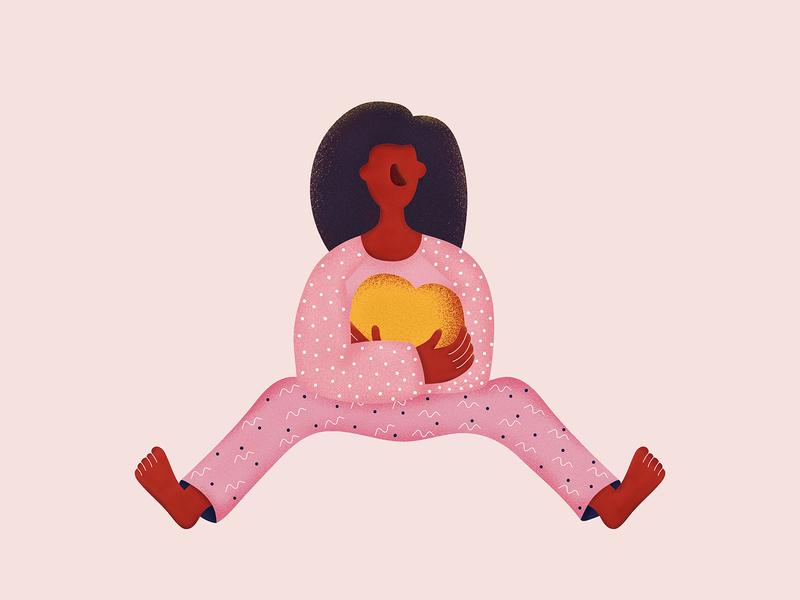 Long distance love illustration design woman textured illustration care heart hug illustration