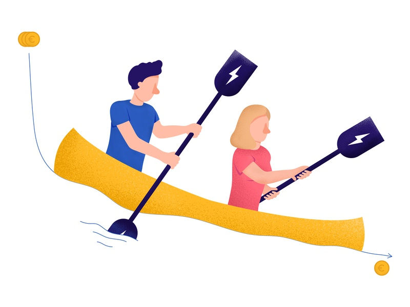 Cutting costs textured illustration spending canoe corporate character design illustration cost team company