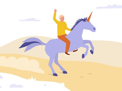 Riding a unicorn textured illustration character design innovative idea illustration corporate unicorn