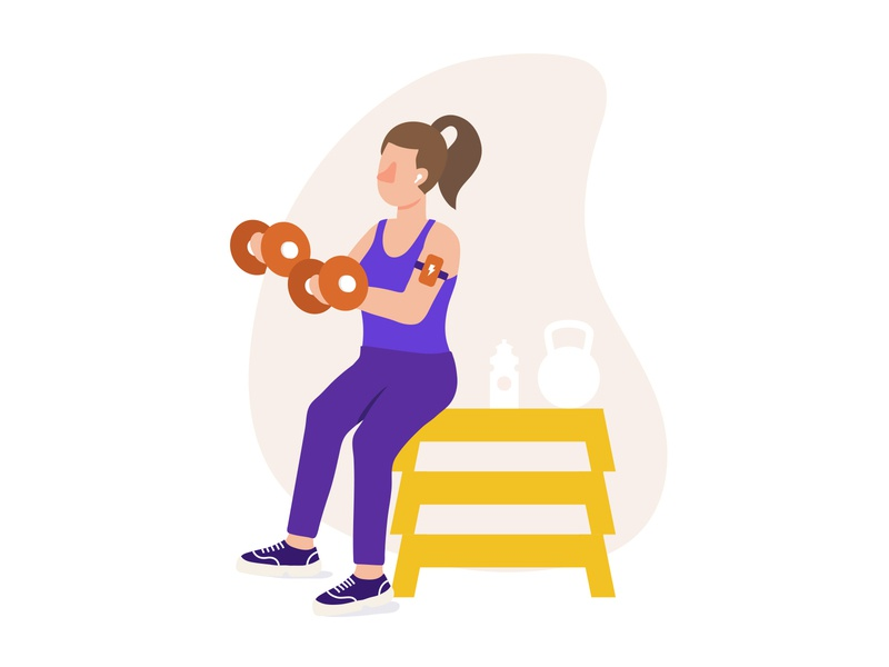 Healthy living healthy living style working out woman fitness corporate character design illustration
