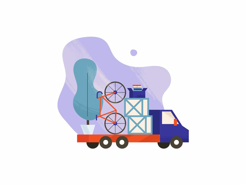 Relocation packed boxes logistics delivery truck relocation moving illustration