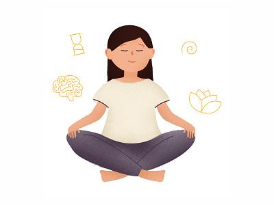 Calming you mind textured illustration yoga pose zen character design illustration