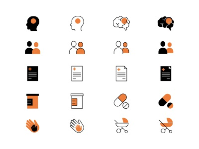 Icons style exploration branding pharmaceutical medical web design icons set