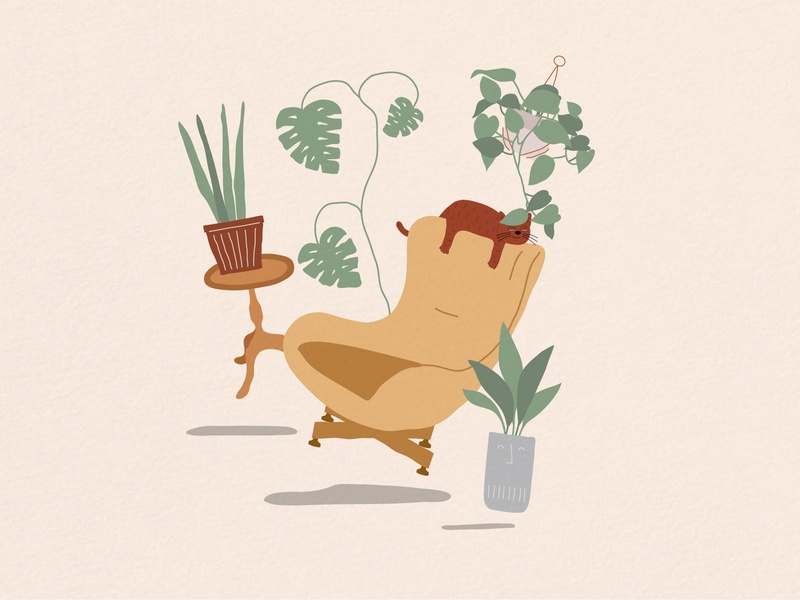 Plants and mid-century furniture chair textured illustration furniture mid-century cat illustration