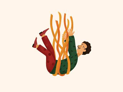 In love with pasta textured illustration character design italian cuisine pasta italian food illustration