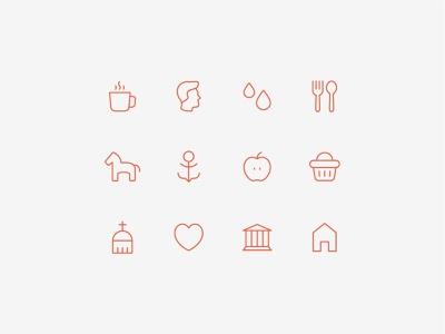 Set of icons minimalistic icons linear icon set local places corporate icons
