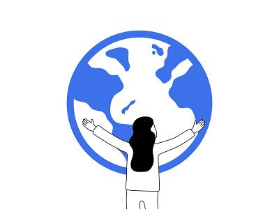 Global plans linear illustration hug earth global illustration