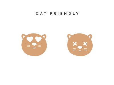 Cat friendly icons simple illustration hand drawn cat icons cat friendly pet friendly icons