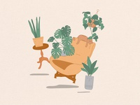 Plants and mid-century furniture plants textured illustration mid-century illustration furniture chair cat