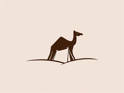 Cam(p)el hidden negative-space qatar middle-east guide travel logo tent vacation desert camp camel