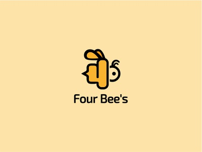 Four Bee's unique number logo fun animal bee 4 four