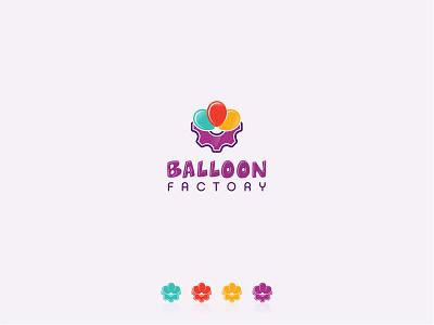 Balloon Factory logo gear colorful fun kids factory balloon