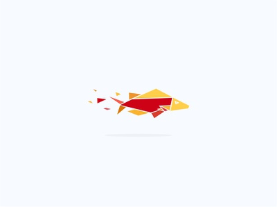 Paper Fish (origami) logo colorful. swim restaurant food sea origami fish paper
