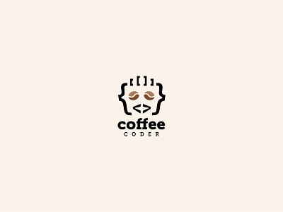 Coffee Coder logo web developer video forum online programmer coder coffee