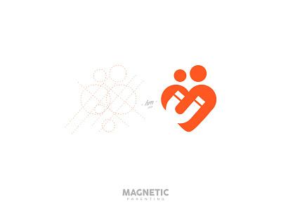 Magnetic Parenting logo-new minimalist-logo logo-inspiration smart-logo family childcare parent gridding design-process love magnet m-logo