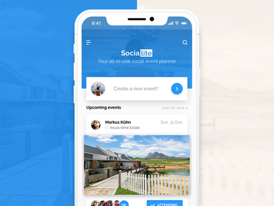 Socialite - Landing ios cards iphone x adobe live mobile ux ui xd socialite social app iphone
