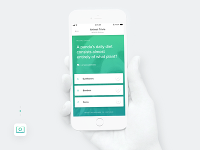 OpenMinds - A Trivia app concept ios iphone mobile app cards gradient interface trivia design ui ux prototype
