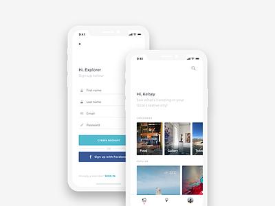 Hi, Explorer travel flat icons app home digital sign up mobile ux ui minimal clean