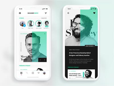 Designer Inspo - A social media app for designers. editorial cards interaction design minimal ui ux mobile clean app adobe live design social
