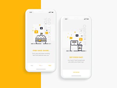 Daily Creative Challenge: Fast Food graphic dailycreativechallenge illustration app design fast food ux design ui design clean minimal onboarding burger