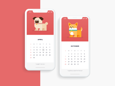 Daily Creative Challenge: Animal companion + Freebie freebie graphic vector illustration dailycreativechallenge ux design ui design clean minimal calendar shiba inu pug