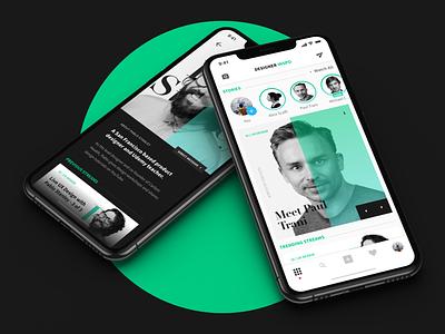 Designer Inspo - A social media app for designers + Freebie ios minimal profile cards freebie adobe xd social media editorial design clean mobile ui ux app