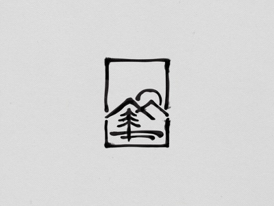 Landscape ink black tree sun mountains logo landscape