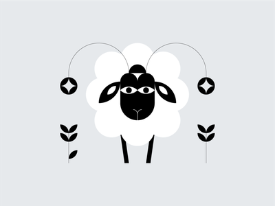 Symbol 10 – Sheep black and white graphic design vector illustration animals icon design symbol icon symbol sheep