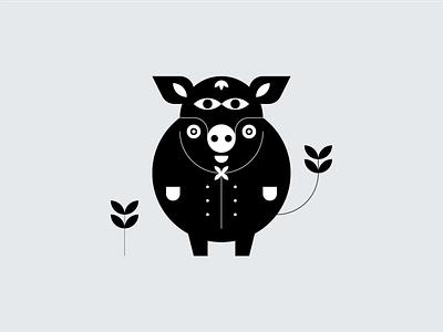 Symbol 11 – Pig icon design vector black and white symbol illustration animals symbol design piggy pig