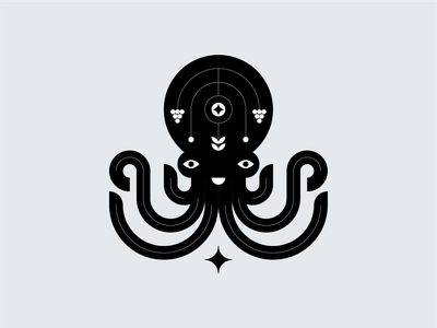 Octopus black and white symbol graphic design vector animals octopus illustration icon design logo