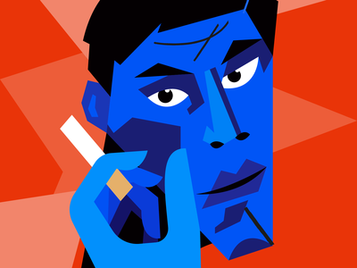 Selfie vector illustration draw avantgarde cubism eyes smoking cigarette man portrait illustration portrait graphic vector illustration