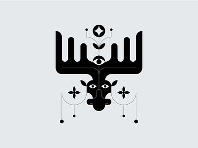 Moose abstract adobe illustrator vector illustration nature logo animals black and white elk moose symbol
