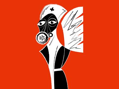 Liquidator fire orange illustration art sadness graphic design angel gas mask mask vector face doctor portrait illustration character disaster chernobyl