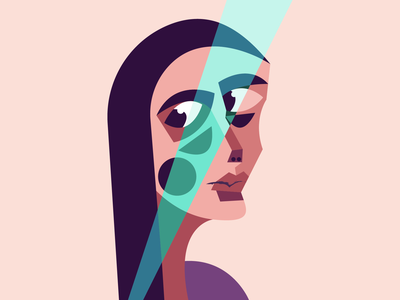 Ray face girl illustration girl character graphic  design vectorillustration abstract art cubism light ray eyes woman illustration woman portrait lady illustration