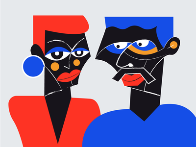 Couple man and woman digital painting digital illustration digital art drawing abstract blue red couple illustration love pair couple vector illustration