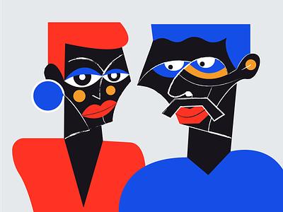 Couple man and woman digital painting digital illustration digital art drawing abstract blue red couple illustration love pair couple vector illustration