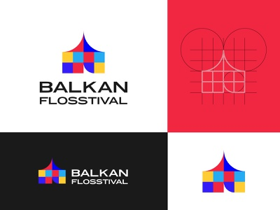 BALKAN FLOSSTIVAL floss logo design tent open source pattern logo design graphic design