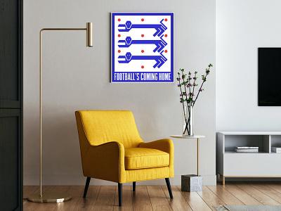 ℱ𝑜𝑜𝓉𝒷𝒶𝓁𝓁'𝓈 𝒞𝑜𝓂𝒾𝓃𝑔 ℋ𝑜𝓂𝑒 — vintage poster poster design graphicdesign illustration graphic design geometric print vintage poster vintage poster goal football euro euro 2020 england three lions