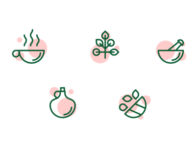 Icons for medicinal teas medicinal bio icons set green icons graphicdesign graphic design illustration