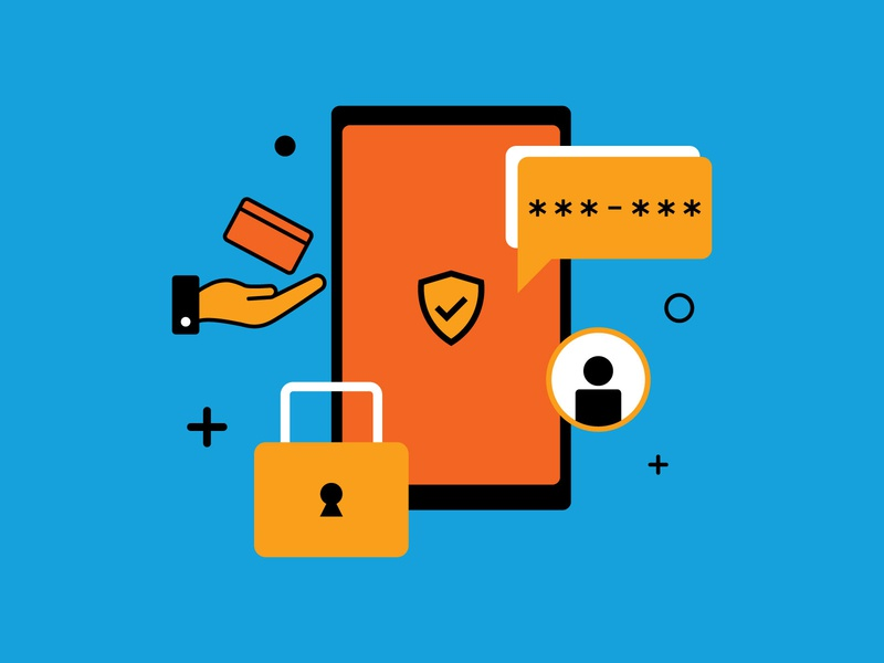Policy Privacy Updates safe secure mobile user account bank graphic design illustration