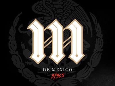 M de México m gold hermosillo lettering mexico