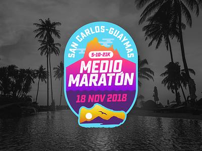 Medio Maratón San Carlos 2018 branding sancarlos guaymas neon logotipo logotype logo sonora mexico run maraton running