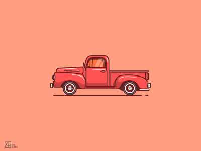 I'll pick you up here ford pick up logo icon graphic design artwork line art outline vector illustration flat design classic car classic car