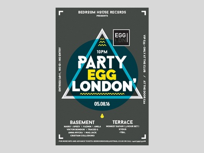 Flyer design yellow party music event egg london flyer